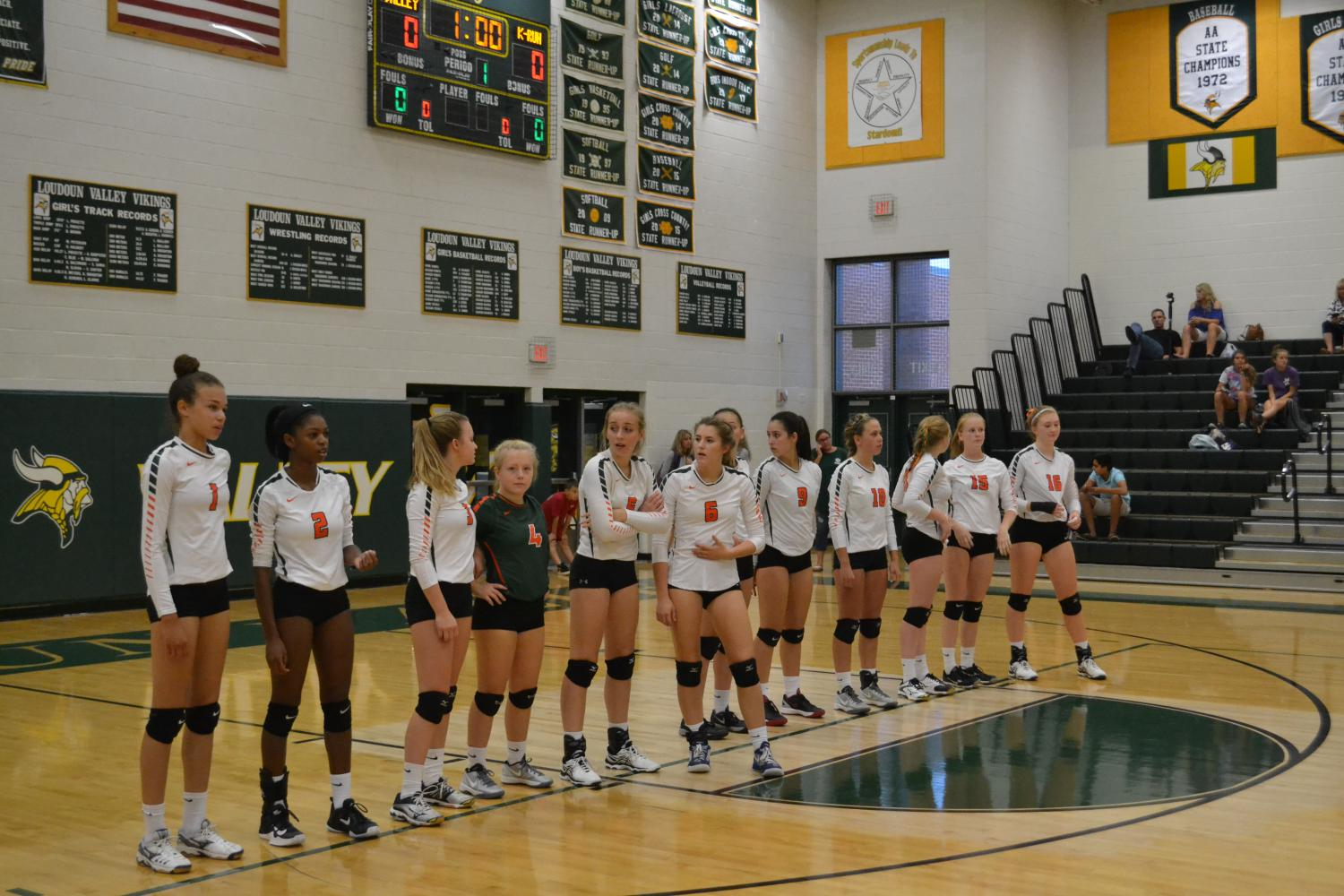 Girls Volleyball lines up before a match.