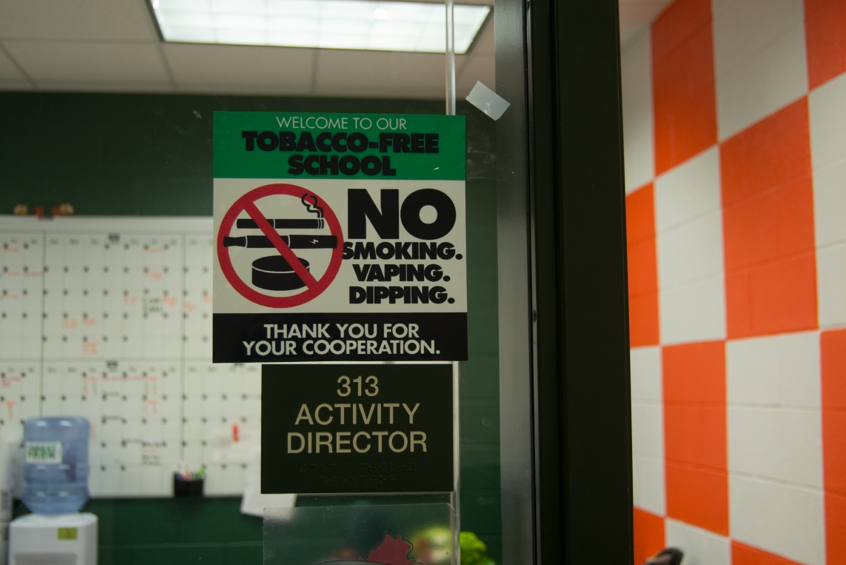 "Vaping has become an issue within the Cougar community, and administrators have posted ""No Vaping"" signs around the hallways."