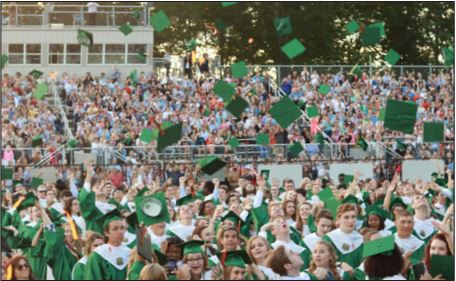 Celebrating their educational achievements, members of the class of 2017 throw their caps in the air as the officially become Kettle Run alumni.