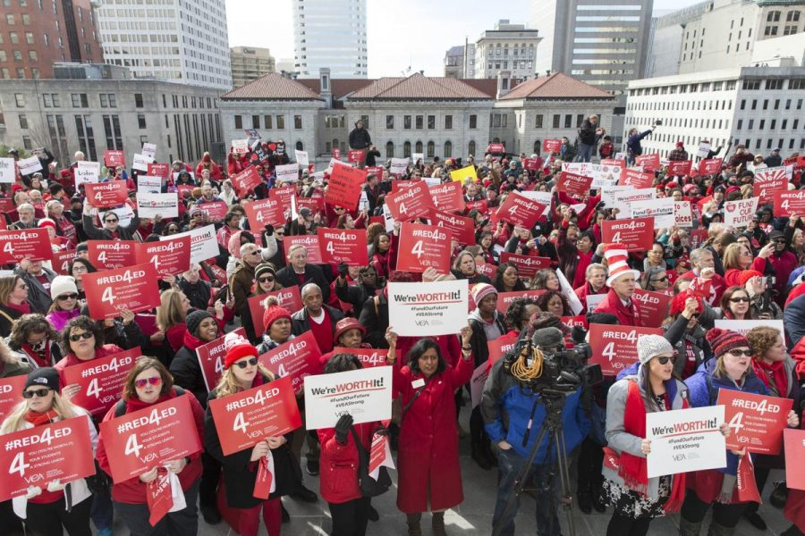 Marching in Richmond to spark conversation about the lack of funding in education and low teacher salaries, teachers from across the state attended the event on Feb. 29.